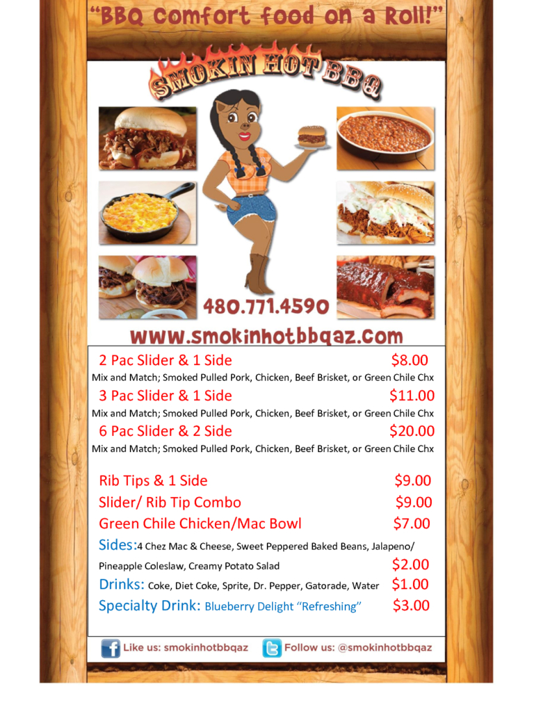 Smokin Hot BBQ Food Truck Menu